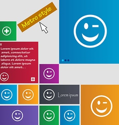 Winking face icon sign metro style buttons modern vector