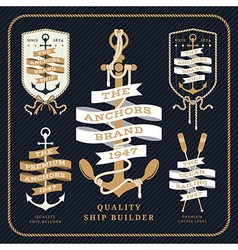 Vintage nautical anchor and ribbon labels set on vector