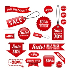 Red sale discount tags badges and ribbons vector