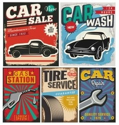 Vintage set of cars for advertising vector