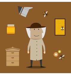 Beekeeper man and beekeeping objects vector
