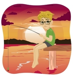 Little sad nerd boy fishing on lake at sunset vector