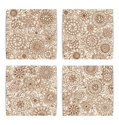 Set of grunge hand drawn patterns with flowers vector