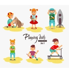 Cartoon kids playing boy playing with the dog vector