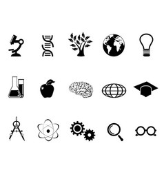 black science research and study icons set vector image
