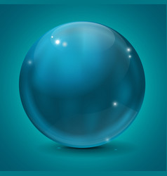 blue glass sphere on blue background vector image