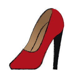 Cartoon red women shoe luxury accessory vector