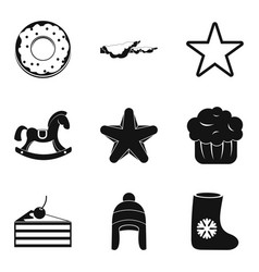 Christmas goodies icons set simple style vector