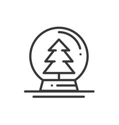 christmas snow ball thin line icon christmas tree vector image