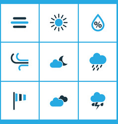 Climate colored icons set collection of humidity vector