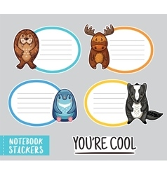 Cute animals notebook stickers vector