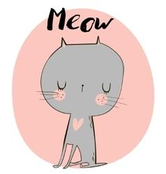 cute doodle kitten vector image