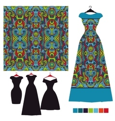 Dress silhouette with tribal seamless pattern vector