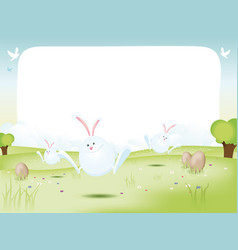 easter bunnies with eggs vector image