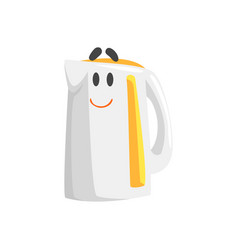 funny electric kettle character with smiling face vector image