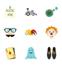 Funny joke icons set flat style vector