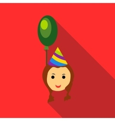 Girl in a party hat with green balloon icon vector