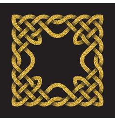 Golden glittering square frame in celtic knots vector