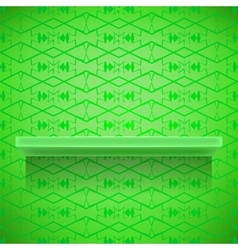 Green shelf on ornamental lines background vector
