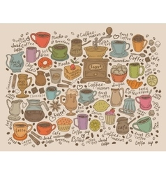 Hand drawn doodle set coffee vector image