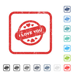I love you stamp seal icon rubber watermark vector