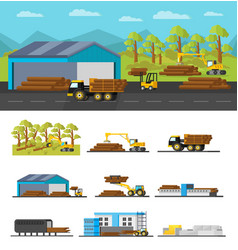 industrial wood production concept vector image vector image