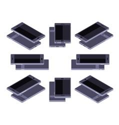 Isometric generic black smartphone vector image