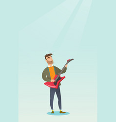 Man playing the electric guitar vector