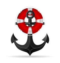 Metallic anchor and life preserver hanging on it vector image