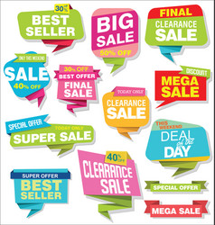 Modern origami sale stickers and tags colorful vector