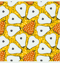 Pear fruit motif seamless pattern colorful vector