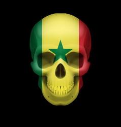Senegalese flag skull vector