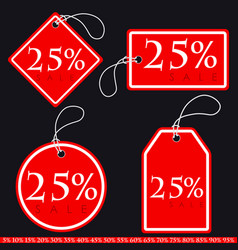 Set of bright red-white sale banners with various vector
