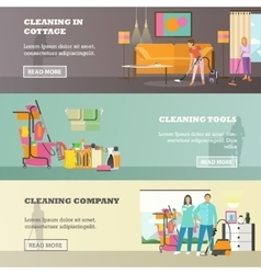 Set of cleaning service concept banners in vector