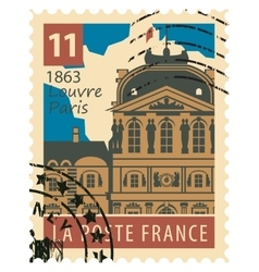 stamp with Paris Louvre vector image vector image