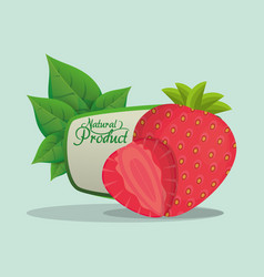 Strawberry natural product label vector