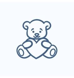 Teddy bear with heart sketch icon vector image