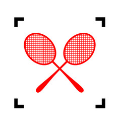 Tennis racquets sign red icon inside vector