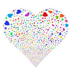 Valentine petals fireworks heart vector