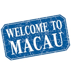 Welcome to macau blue square grunge stamp vector