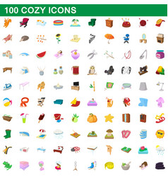 100 cozy icons set cartoon style vector image vector image