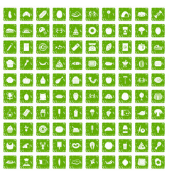 100 favorite food icons set grunge green vector image vector image