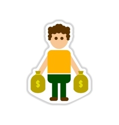Paper sticker on white background man bags of vector