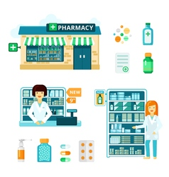 Pharmacy icon set vector