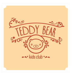 Kids club logo with teddy bear cute kindergarten vector