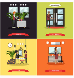 Set of hotel square posters in flat style vector