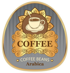 Label for coffee beans arabica with cup and sun vector