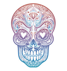 colorful mexican decorative skull tattoo vector image