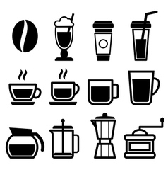 Coffee drinks icons vector