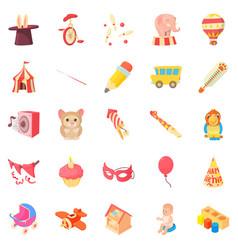 Happy childhood icons set cartoon style vector